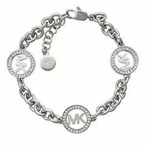 Michael Kors Women Logo Silver Tone Chain Bracelet